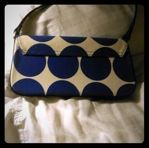 Small Kate Spade bag white with blue polkadot.